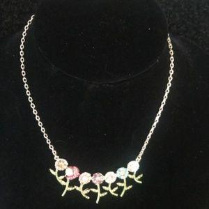 BETSEY JOHNSON Rhinestone Garden Flowers Necklace